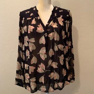 Lucky Brand black sheer floral blouse